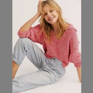 Free People Love This City Sweater Chunky Boxy Top